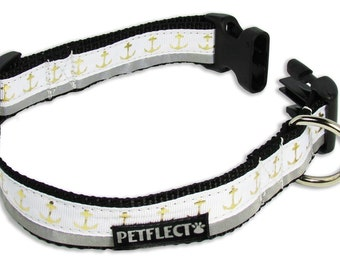 Gold Anchors on White Reflective Dog Collar
