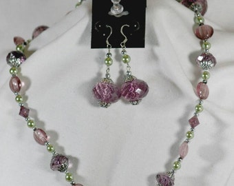 Lilac and green single strand beaded necklace with matching earrings
