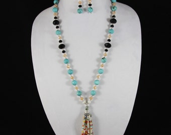 Turquoise Faceted Agate Bead Necklace Set with Matching Earrings, Tassel, Crystals, Seed Beads