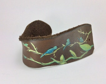 Hand painted leather cuff, bluebirds