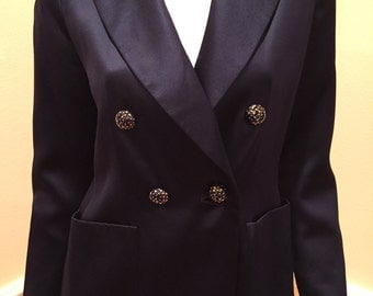 Vintage YSL Rive Gauche Navy silk satin charmeuse tailored jacket coat ceramic buttons