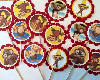 12 Curious George birthday decor, Curious George party favors, Curious George cupcake toppers or party tags
