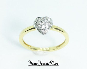 heart shape ring, 19.2k yellow GOLD with Cubic Zirconias