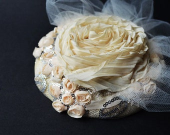 Coral Mini Hat/ Coral Small Florets/Wedding/Derby/Church/ Fascinator Hat