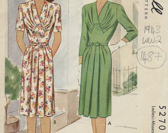 1943 WW2 Vintage Sewing Pattern B32 DRESS (1487) McCall  5270