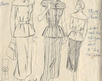 1940s Vintage Sewing Pattern B34 SUIT DRESS (1093)  Butterick 5199