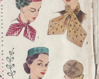 """1952 Vintage Sewing Pattern HAT, SCARF & TRANSFER S22"""" (R588) Simplicity 4064"""