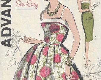 1950s Vintage Sewing Pattern B38 DRESS (R889) Advance 9827
