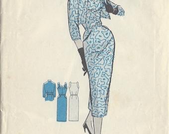 "1950s Vintage Sewing Pattern B36"" DRESS & JACKET (204) Maudella 4947"