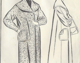 1950s Vintage Sewing Pattern B38 COAT (1345) Woman 726