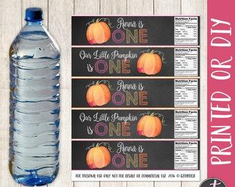 Little Pumpkin Water Bottle Labels, Pumpkin Birthday Water Bottle Labels, Our Little Pumpkin Party, Pumpkin Bottle Labels, First Birthday
