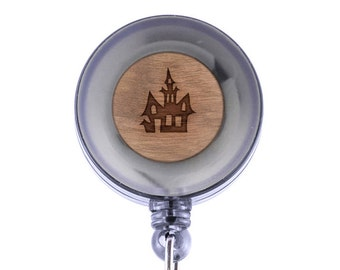 Haunted House Badge Holder with Retractable Reel, Badge Holder, Personalized Badge Holder, Corporate Gifts