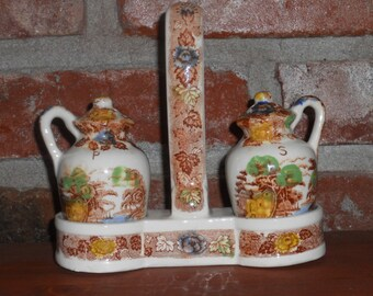 Vintage Nasco - Mountain Woodland - Salt and Pepper Shakers with Caddy - 1940's - Three Piece Set - Salt and Pepper Set