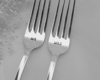 Mr and Mrs hand stamped vintage wedding forks.  Engagement silverware.  Unique gift.  Customized with wedding date.