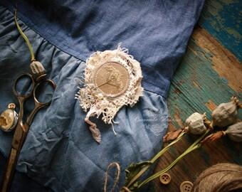 brooch boho, vintage style, linen brooch, Lapel pin, blue brooch