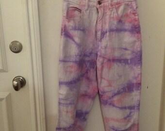TIE DYE, pink and purple pants, 90s, denim, nice fit