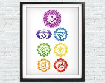 Chakra Print, Chakra Wall Art, Kabbalah Print, Cabala Poster, Yoga Print, Yoga Studio Poster, Reiki Poster, Kabbalah Wall Art, Printables