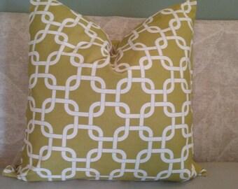 Yellow-green pillow cover, pillow cover, yellow-green and cream, decorative pillow, accent pillow, throw pillow, home decor
