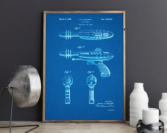 Toy Space Pistol Laser Weapon Gun, Patent Prints, Patent Posters, Patent Art, Blueprints, Space Pistol Patent, Toy Patent, Boys Room Decor