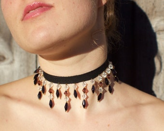 Short, Black/Brown Beaded Choker
