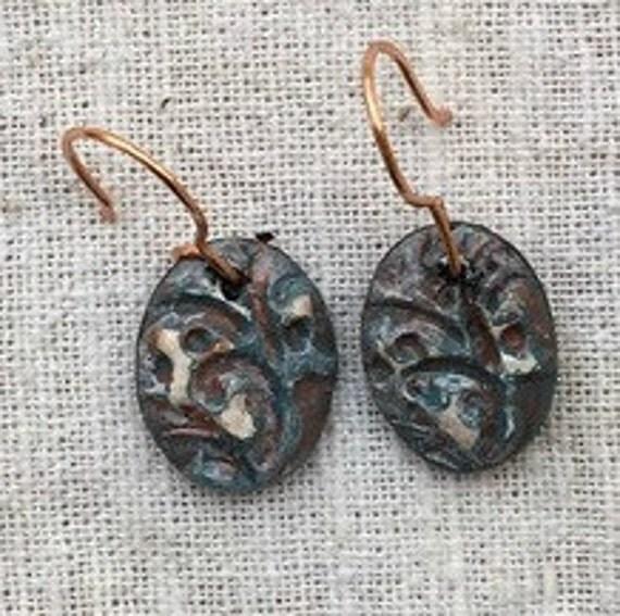 Copper earrings, copper jewelry, dangle earrings, boho earrings, bohemian earrings, handmade earrings, copper verdigris, steampunk earrings