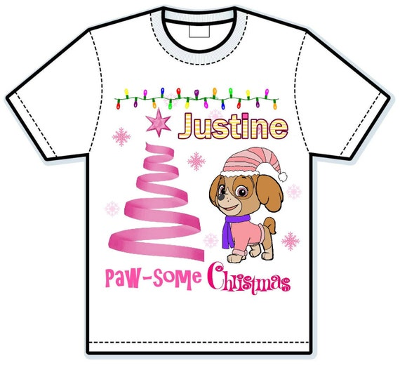 Paw Patrol Skye Christmas Children's Hand Painted Shirts