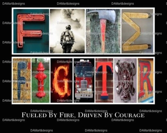 Personalized Firefighter Letter Art Fire Fighter Framed Alphabet Photo Art