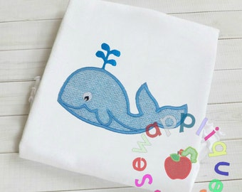 Baby Whale Applique embroidery design