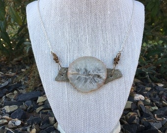 Solid Quartz Geode on Siltstone Necklace