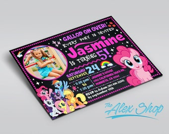 My Little Pony invitation, My Little Pony birthday, My Little Pony birthday inivtation, My Little Pony Chalkboard Birthday Invitation