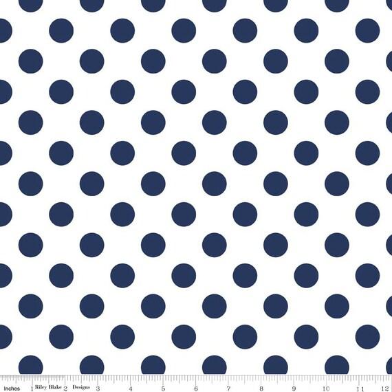 Navy Blue Polka Dot Fabric - Riley Blake Medium Dot - Blue and White Dot Fabric