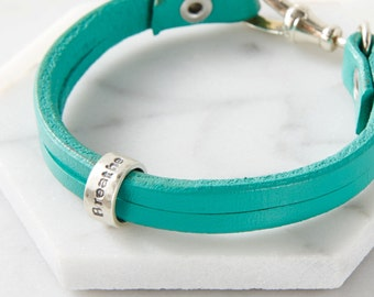 personalised mantra bracelet with leather strap