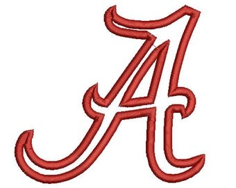 5 sizes Alabama Applique Designs, A Logo Football Embroidery Design, Machine Embroidery Pattern, Instant Download