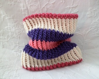 Snood scarf for children 3 colors: off white, purple and pink (choker)