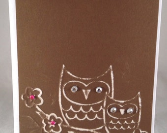 Set of 5 Owls on a Twig CLASSIC Animal Cards