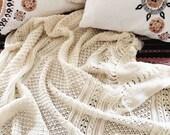 SALE Vintage Wool Afghan Throw Hand-knit | Neutral Decor Boho Blanket 80 x 56