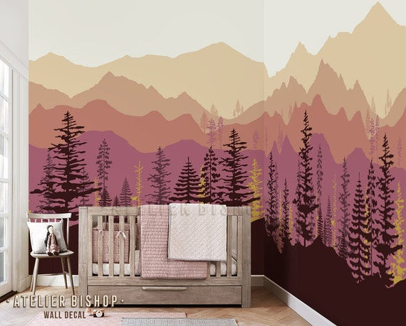 Instant Wallpaper Ombre Mountain Pine Tree Forest Scenery Wall