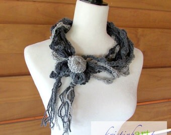 Gray Metallic Cowl Necklace / Handmade Crochet / Women's Gift Idea / Acrylic / One Size / Unique