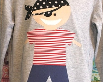 SALE! T-Shirts - boys long sleeve - hand-made applique motif - pirate shirt