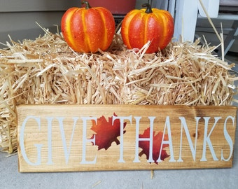 "Hand painted ""Give Thanks"" fall sign"