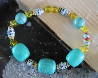 Turquoise, Paper, and Honey bead Bracelet