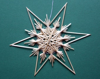 Christmas Tree Decoration - Handmade German Straw Star Ornament – Design 7