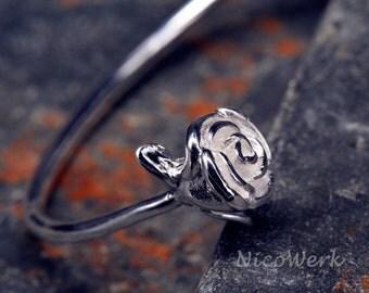 Silver Bangle Bracelet flower rose Cuff Bracelet 925 ladies jewelry gift SAR112