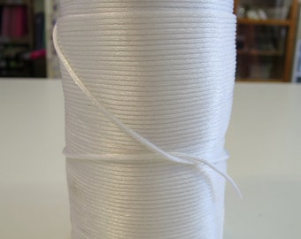 "1mm x 225mts China Knot (""Rat's Tail"") polyester cord - White"