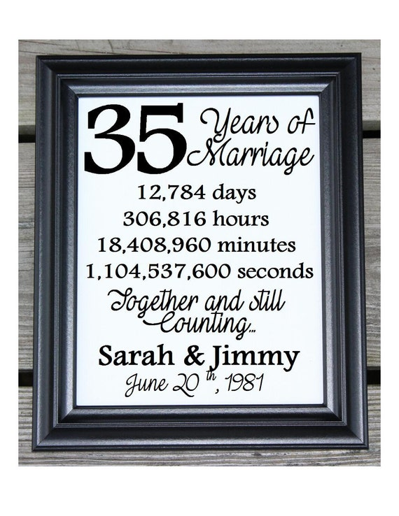 Cotton Print 35th Wedding Gift 35 Years Together 35 Years ...