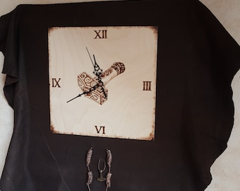 Wall clock Thor hammer Thor's hammer branding pyrography clock handmade beads on leather