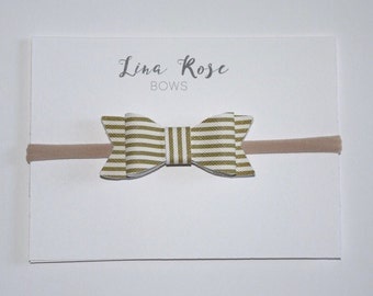 Olive Striped Faux Leather Nylon Headband