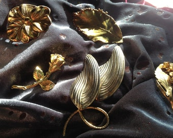 Vintage Brooches  (5 pieces)  1960's