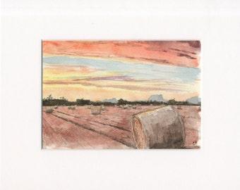 5x7 original watercolor of landscape/field