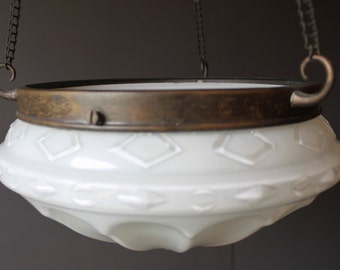 Vintage White Opaque Glass Ceiling Light Sahde